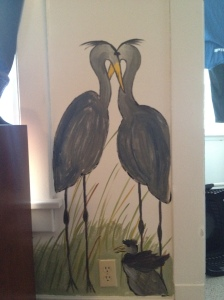 Some close ups of the paintings we did in the room--blue herons (one for each of us)