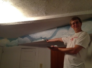 Peder and his gorgeous clouds, right after we painted them in October
