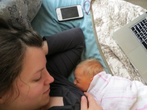 She can breastfeed laying down, in my arms, football hold, standing, walking--she's a pro :)